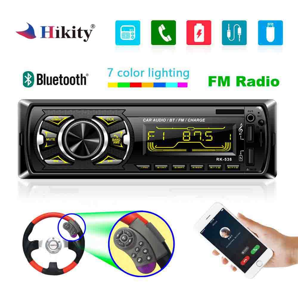 Hikity 1 din Car radio 12V Bluetooth AUX autoradio fm transmitter auto radio In-Dash 1din with free remote control car Stereo image