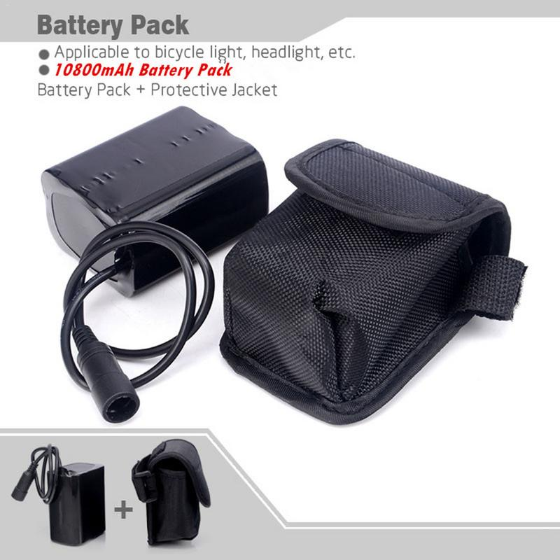High Capacity 8.4V 10800mAh Rechargeable 6x18650 Battery Pack With Pouch For XML XM-L U2 T6 LED Bicycle Light Power