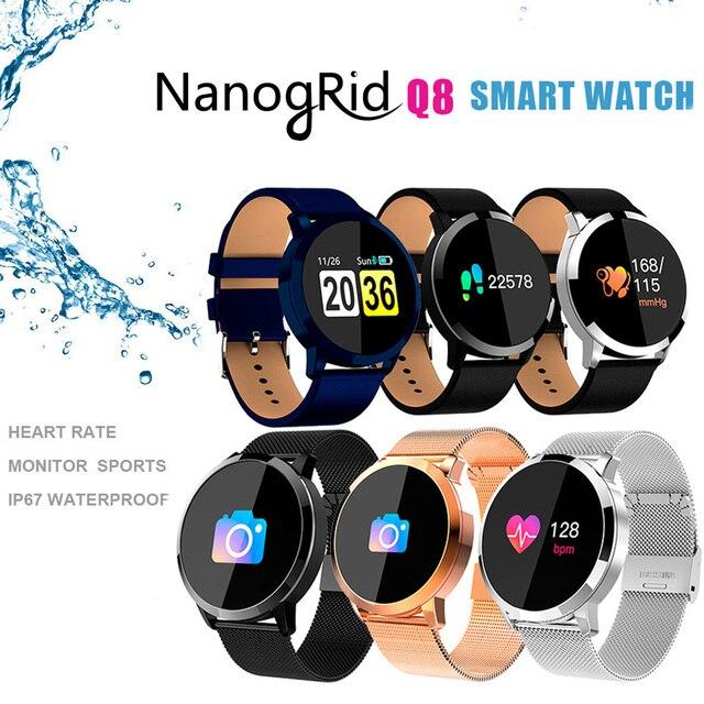 Q8 Smart Watch OLED Color Screen Smartwatch women Fashion Fitness Tracker Heart