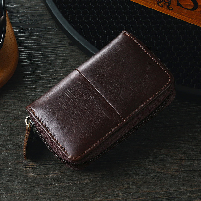 Cow leather business card holder men zipper blue/brown/coffee credit card wallet male 2020 retro bank/id/credit card holder
