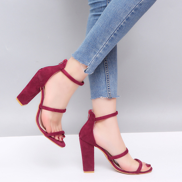 Suede Leather High Heels Women Summer Sandals Ladies Shoes Woman Wedding Chaussure Femme Pumps Zapatos Mujer Large Size 34-43