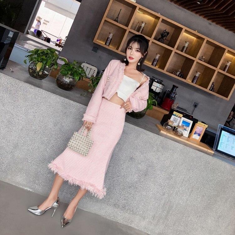 Deux Pièces Jupe Haute Lady Nouvelles Manteau Ensemble Femmes Taille Court Poche Printemps De Plaid Poisson Costumes Mode Rose Office Tweed En Élégant Gland Queue nvXYxRqxA