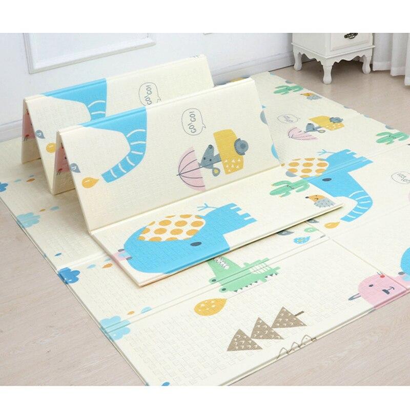 Double face bébé tapis de jeu 1cm épais enfants jouets XPE pliant ramper tapis jeu antidérapant tapis pour enfants tapis doux sol
