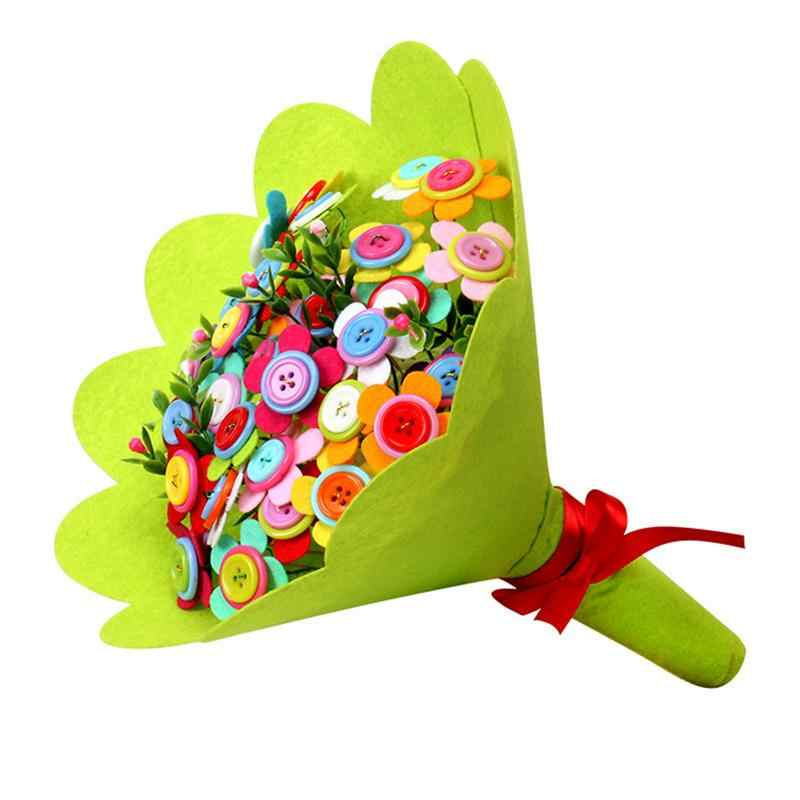 Домашний Декор подарок на день учительницы пуговичный букет детские развивающие игрушки детский сад ручной работы материал для упаковки своими руками держащие цветы
