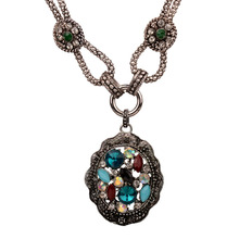 Bohe Bohemian Exaggerated Colorful Crystal Statements Necklace For Women Retro Vintage Costume Necklaces Jewelry