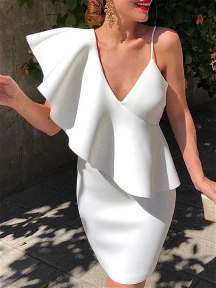 Women White Dress Evening Party Ruffle Deep V Neck Sexy Dinner Clubwear Ladies Slim Tunics Elegant Tight Summer Bodycon Robes