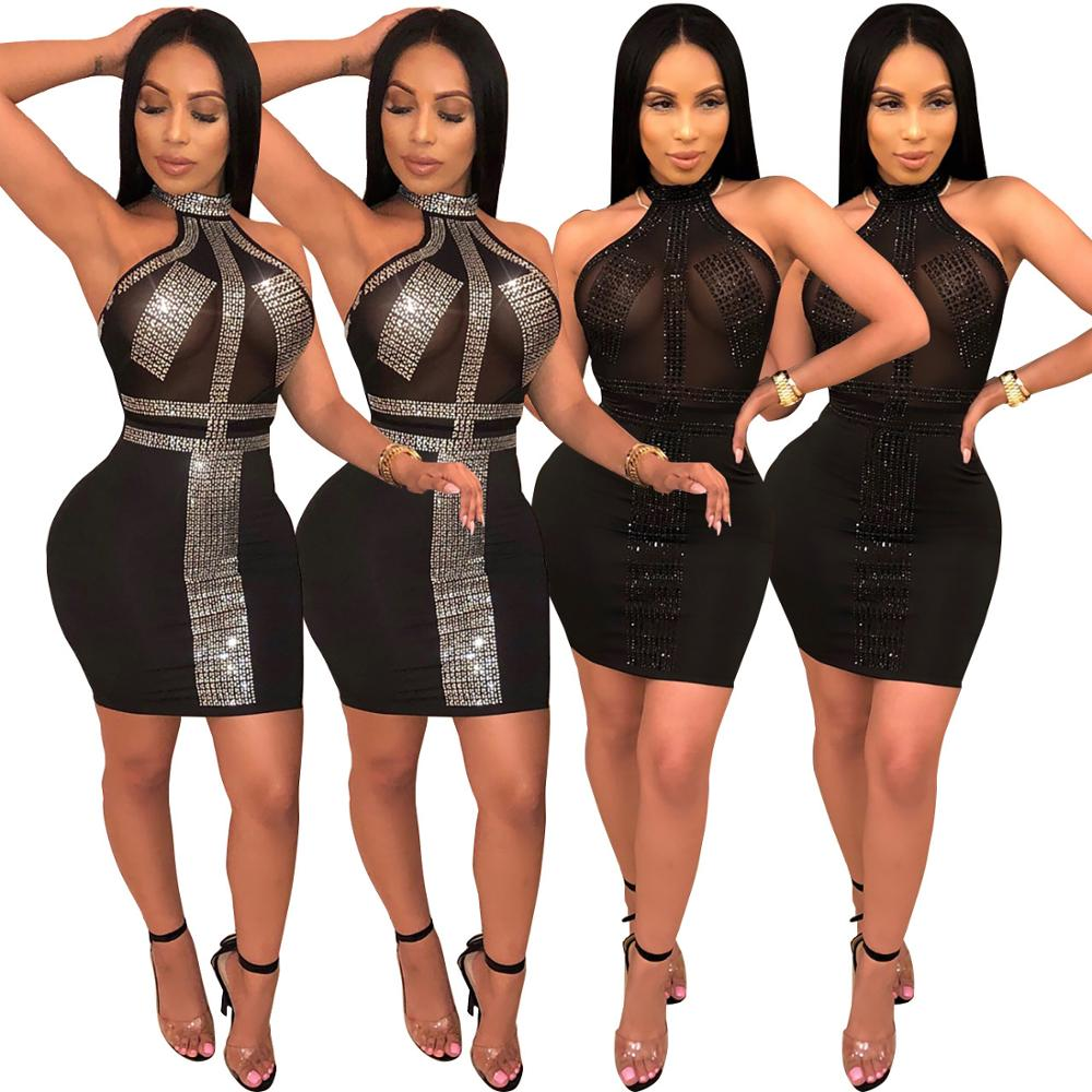 Evening Party Dresses for Women Choker Halter Neck Tight Bodycon Sexy Dress Night Club Wear Sleeveless Sequin Pencil Dress