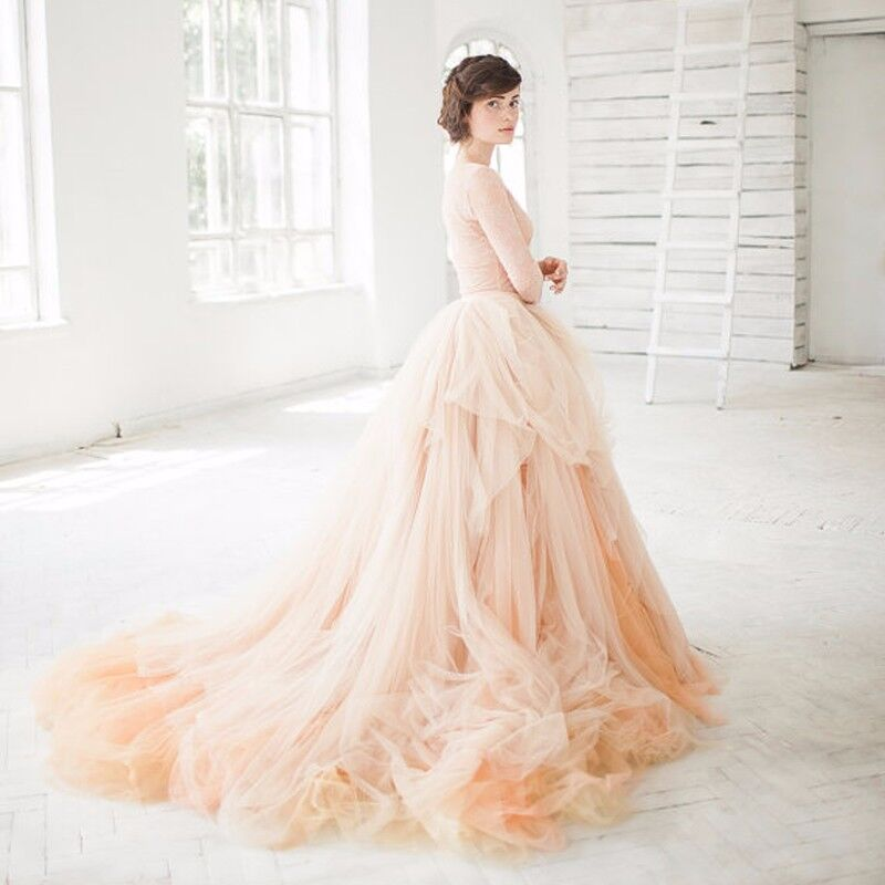 Peach Color Long Sort Tulle Skirts Zipper Style Tutu Skirts For Bridal To Wedding Or Women