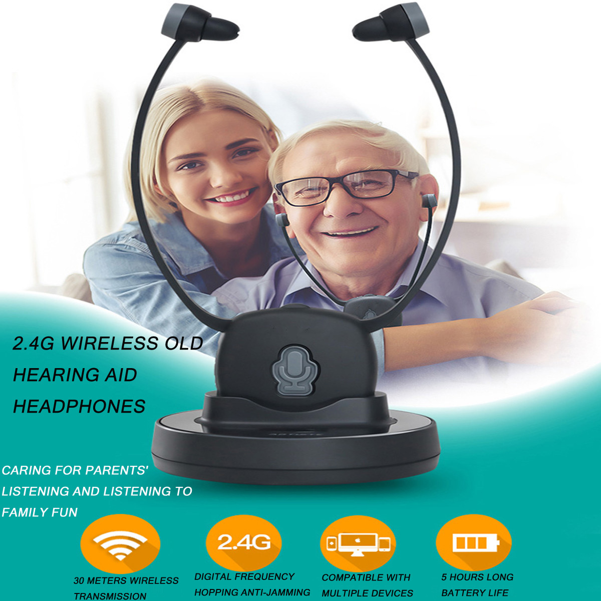Elderly Hearing Aid Headphone 2.4G Wireless Old Hearing Aid Headphones TV Mobile Phones Listening Headset RechargeableElderly Hearing Aid Headphone 2.4G Wireless Old Hearing Aid Headphones TV Mobile Phones Listening Headset Rechargeable