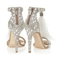 2019 summer new high heel stiletto feather bag with sandals wedding shoes large size 40 43 explosion models women's shoes