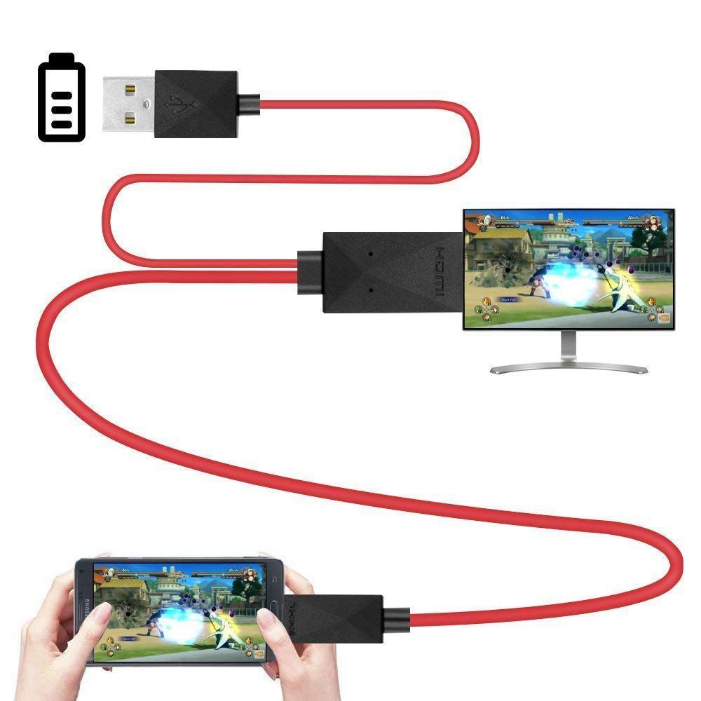 6.5 Feet MHL Micro-USB To HDMI Adapter Converter Cable 1080P HDTV For Android Devices Samsung Galaxy S3 S4 S5 Note 3 Note 2 No