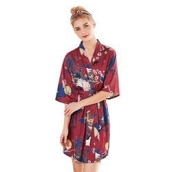 Для женщин Ночное короткий халат пижама из искусственного шелка роскошные женские короткие кимоно Cherry Blossom печати Бандаж с v-образным