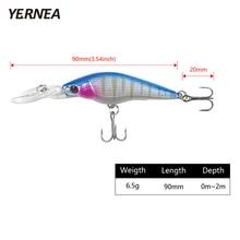 Yernea 1pcs 9cm 6.5 g pesca Minnow Wobblers 8 Colors Fishing Lures Artificial Bait Carp Crankbait Lure Tackle 3D Eyes