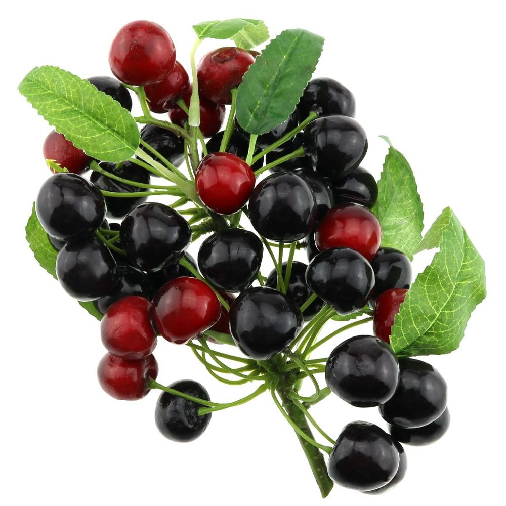 Gresorth Fake Fruit Bunch Decoration Artificial Red Black Cherry Food Home Kitchen Shop Party Christmas Display in Artificial Fruits from Home Garden