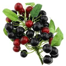 Gresorth Fake Fruit Bunch Decoration Artificial Red Black Cherry Food Home Kitchen Shop Party Christmas Display