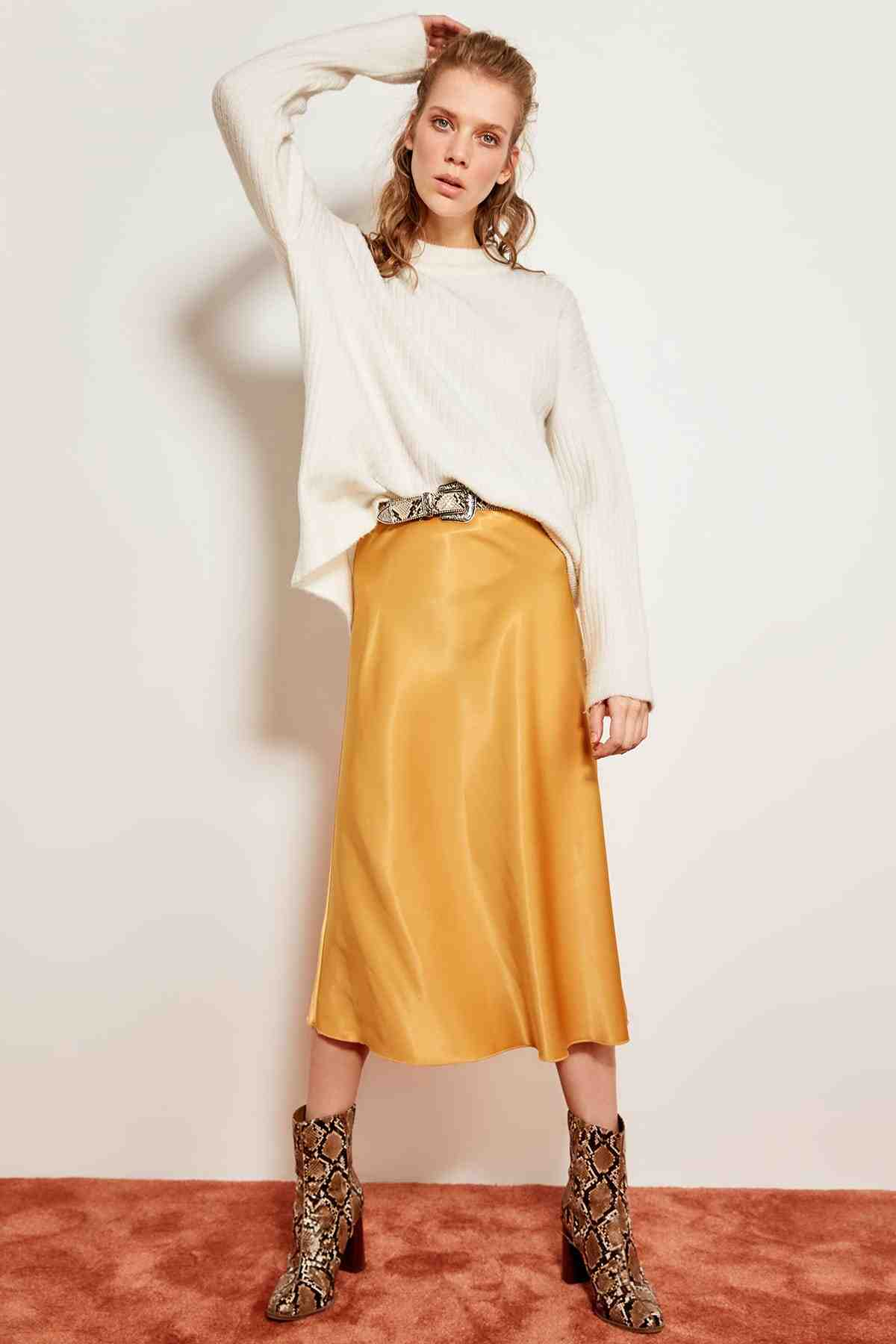 e1f440bf1c Detail Feedback Questions about Trendyol Mustard satin skirt TOFSS19WX0013  on Aliexpress.com | alibaba group