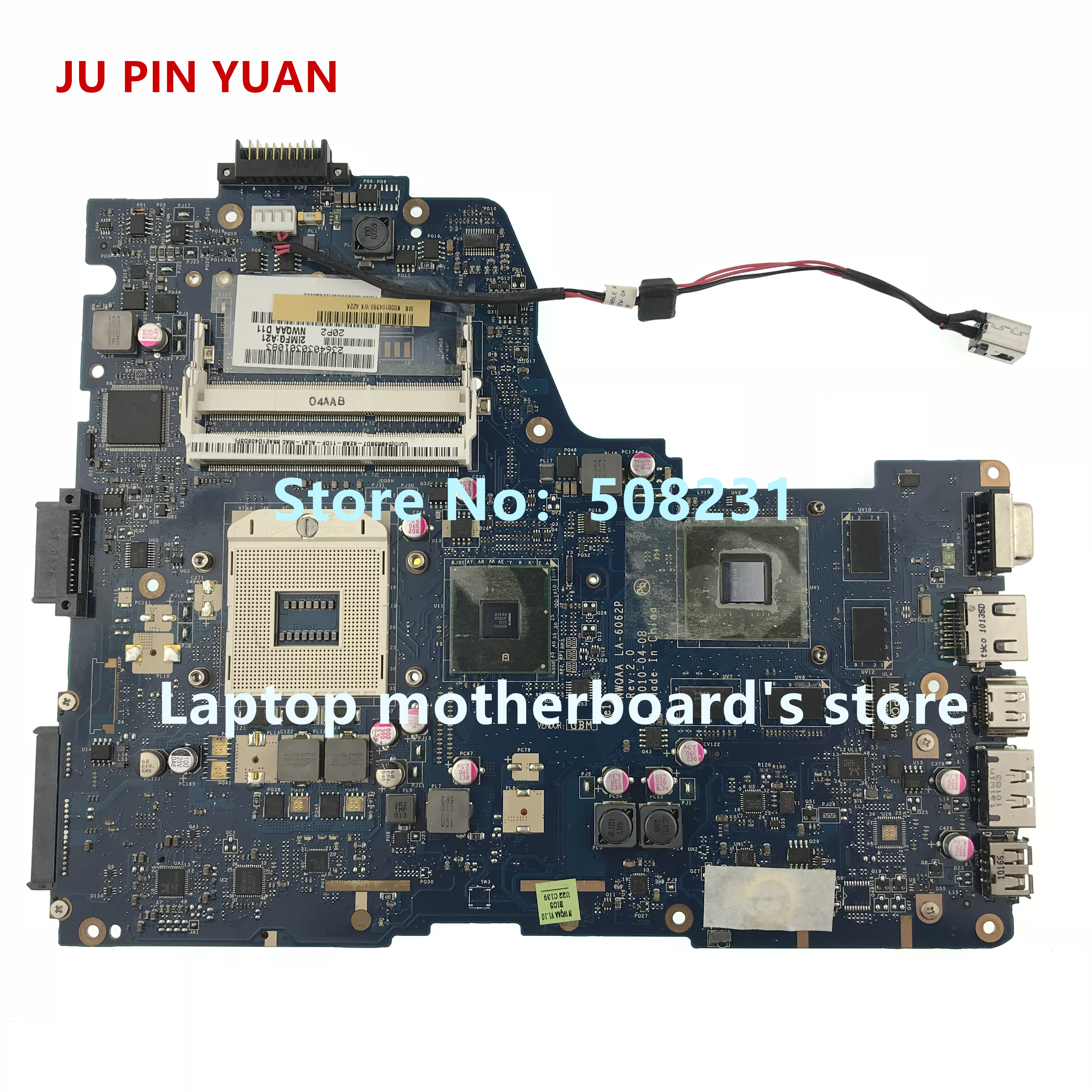 JU PIN YUAN For Toshiba Satellite A660 A665 Notebook Series Laptop Motherboard K000104390 LA-6062P Fully Tested