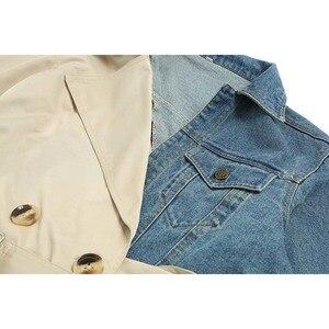 Image 4 - [EAM] 20120 חדש אביב סתיו דש ארוך שרוול חאקי להיט צבע ג ינס Stitcing Loose Sashes מעיל רוח נשים אופנה גאות JH638