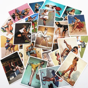 25 Pcs Classic World War II Pin up Girls New Anime Stickers For Laptop Luggage Fridge Wall Waterproof PVC Sexy Sticker - discount item  17% OFF Classic Toys