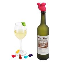 Милый в форме белки вина пробка для винной бутылки пробковая заглушка резиновая винная этикетка для стекла для питевых чашек Mixproof силиконовый маркер 7 шт./компл
