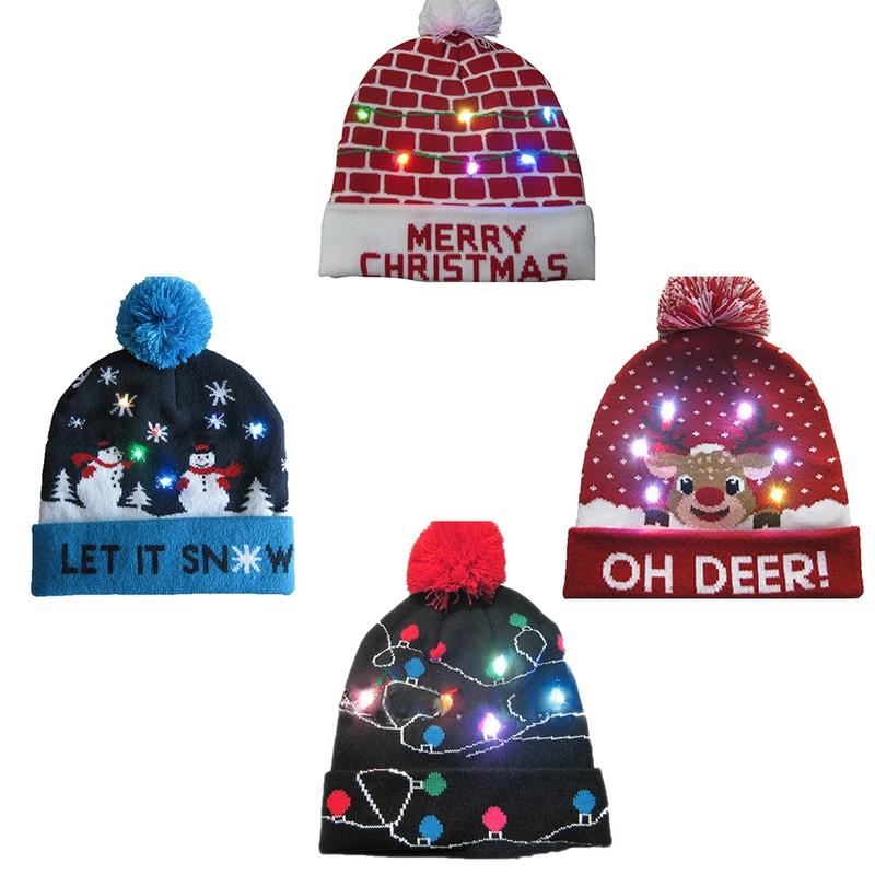 Christmas Hat Lighting Knit Hat Warm Autumn Winter Christmas Gifts Parties Decorative Good Elasticity Middle-Aged Adult Children
