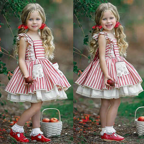 Cute Kids Girls Strap Ruffle Dress Sleeveless Tutu Lace Striped Tulle Lace Edge Princess Girl Dress Clothes