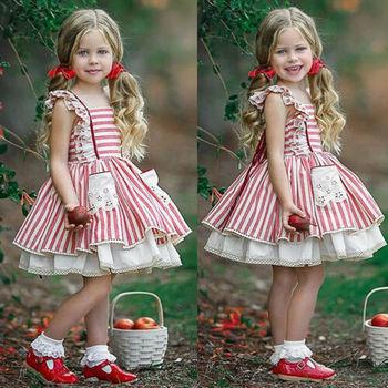 Girls Strap Ruffle Sleeveless Princess Dress