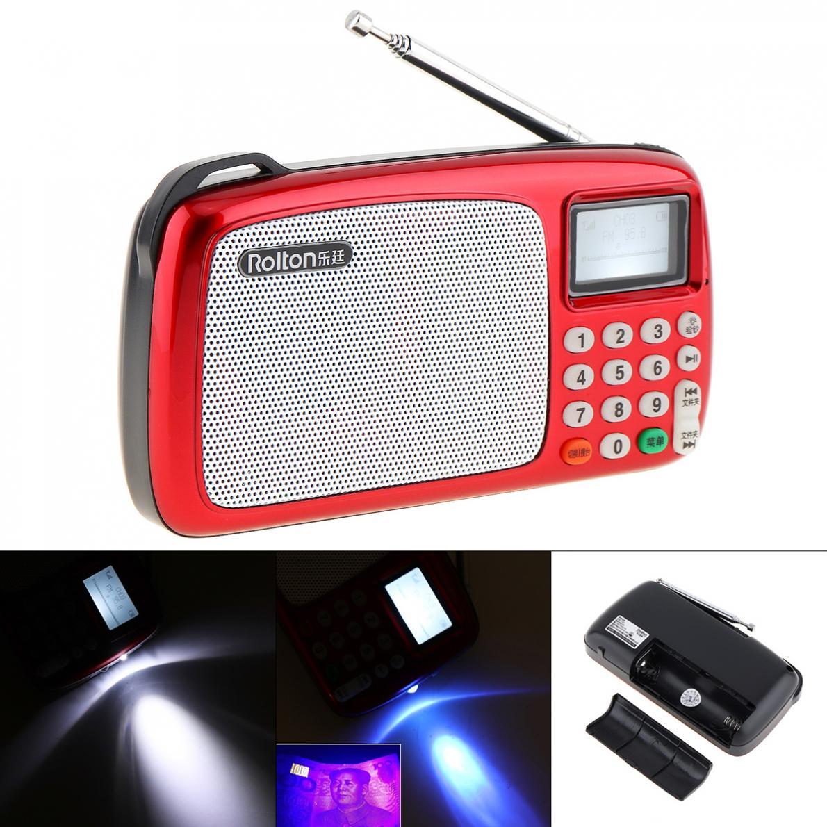 Radio Rolton T303 Tragbare Tf Karte Usb Fm Radio Lautsprecher Mit Led-anzeige Mp3 Musik Player/taschenlampe Lampe/geld überprüfen Für Ältere/kinder Unterhaltungselektronik