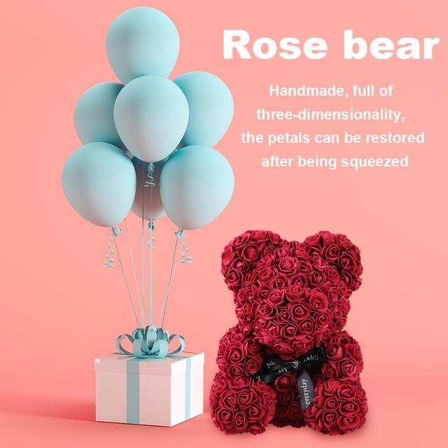 38*30cm Large Rose Bear Wedding Decoration Teddy Bear Flower Anniversary Romantic Valentines Day Gift Birthday Drop Shipping 5