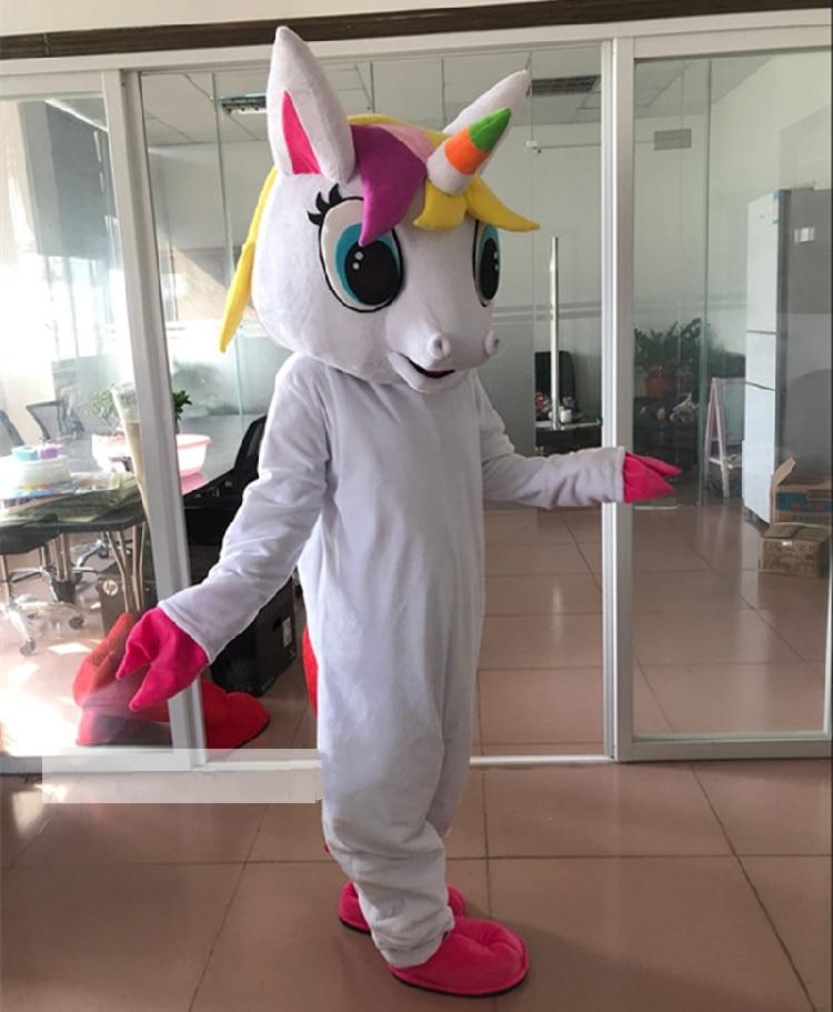 Costume de mascotte de poney Costume de mascotte de cheval volant Costume de fantaisie de poney arc-en-ciel Costume de caractère de carnaval