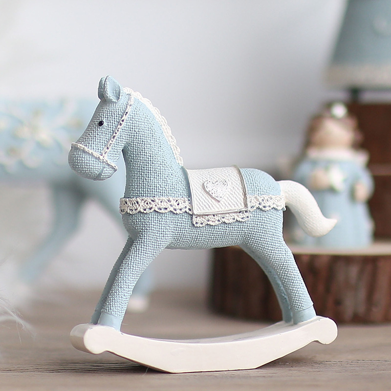 Nordic INS Style Resin Pony Creative Swing Trojan Children's Room Decoration Nursery Decoration Valentine's Day Gift