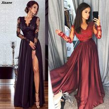 Women Lace Evening Party Prom Gown Ladies Formal Empire Waist Long Dress Solid V-Neck Long Sleeve Floor-Length Maxi Dresses plunge maxi plus size empire waist prom dress