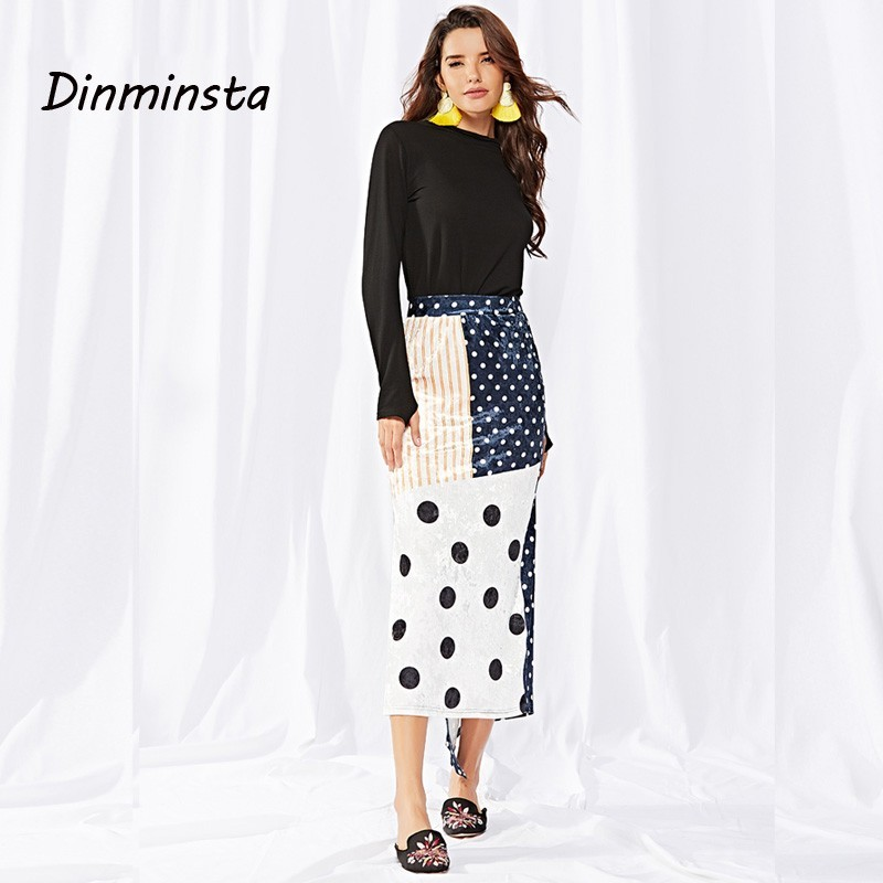 Velours Femme Jupe Dinminsta Pour Fonds Casual Polka Dots De Femmes Dot Asymmterical Mode Style Vêtements Dames Coréenne 2018 Long qRAxwAnISa