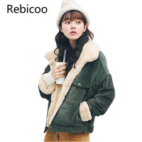 Loose Corduroy Jacket Women 2018 New Thick Winter Faux fur inside Jackets Ladies Cute Outerwear Coat Warm Parka Female