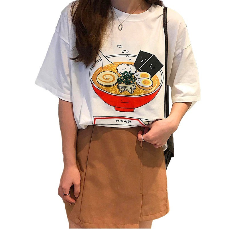 Japanese Style Summer 2019 Women Brand Clothing Comic Cartoon Kawaii Ramen Printed T-Shirt High Street Fashion Casual Tee Tops