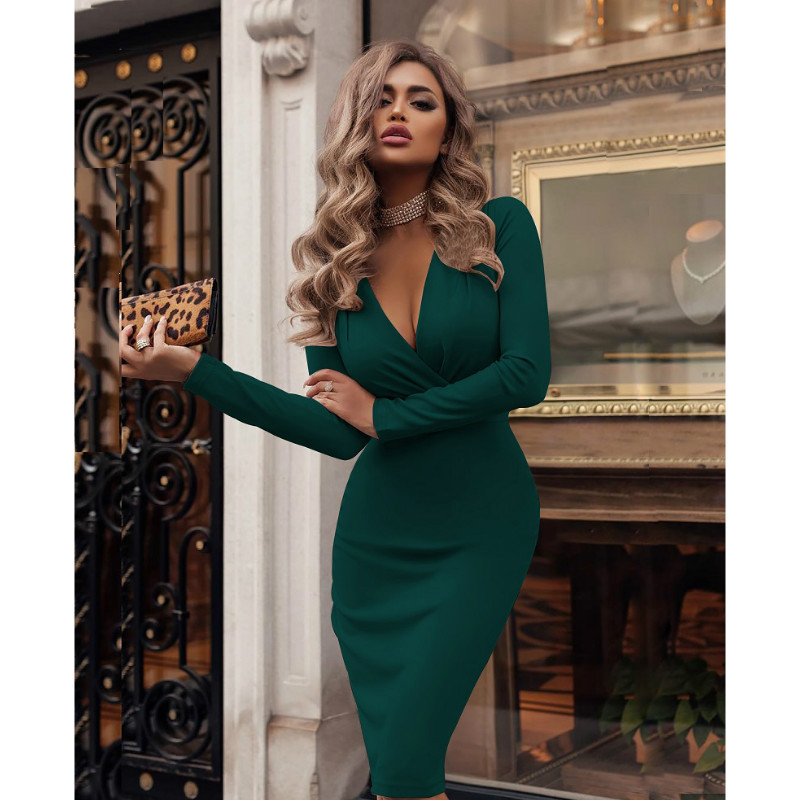 2019 Plus Size Women Bandage Bodycon Dress Office Lady OL Clothes Summer Long Sleeve V Neck Sexy Party Cocktail Short Dress 3