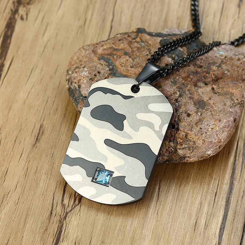 Vnox Camuflagem Dog Tag Pingente for Men Colar com Azul CZ Pedra Soldados Do Exército Colar Presentes