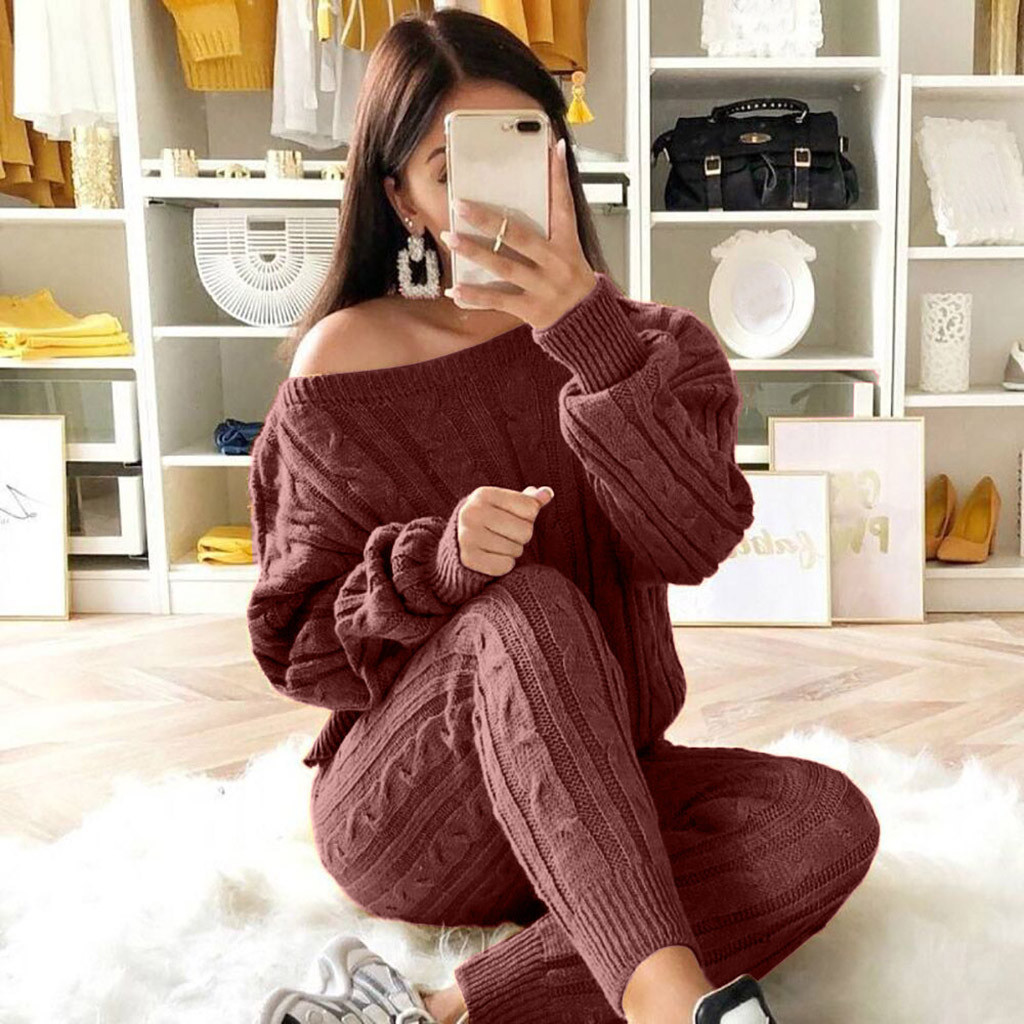 Knitted Suit Womans Solid Color Slash Neck Sweater + Long Knitted Pants Sets New Winter Warm Suits 2 Piece Outfits For Women