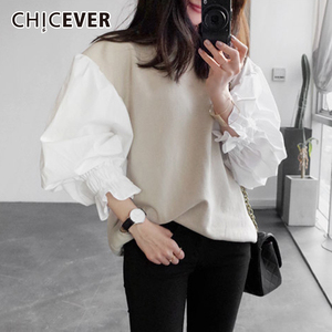 Image 1 - CHICEVER 2020 Spring Female Sweatshirt For Women Top Lantern Sleeve Pullovers Loose Plus Size Oversizes Sweatshirts Tops Clothes