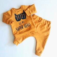 От 0 до 3 лет Одежда для новорожденных мальчиков и девочек комплект одежды для папы, Бэтмена, супергероя, топ с цветами и штаны комплект одежды для младенцев, roupa menina