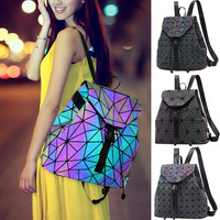New Fashion Rhomboids Flash Backpack Women Travel Large Capacity Backpack Geometric Pattern Rucksack Dating Shoulder Bag^