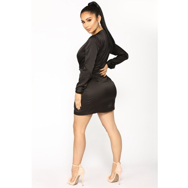 Sexy Women Summer Long Sleeve Deep V Neck Satin Mini Dress Ladies Short Knot Wrap Split Party Dresses 5