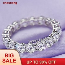 Brand Women Fashion Jewelry Full Round 4mm AAAAA zircon cz S925 silver Jewelry Engagement Wedding Band Ring for women(China)