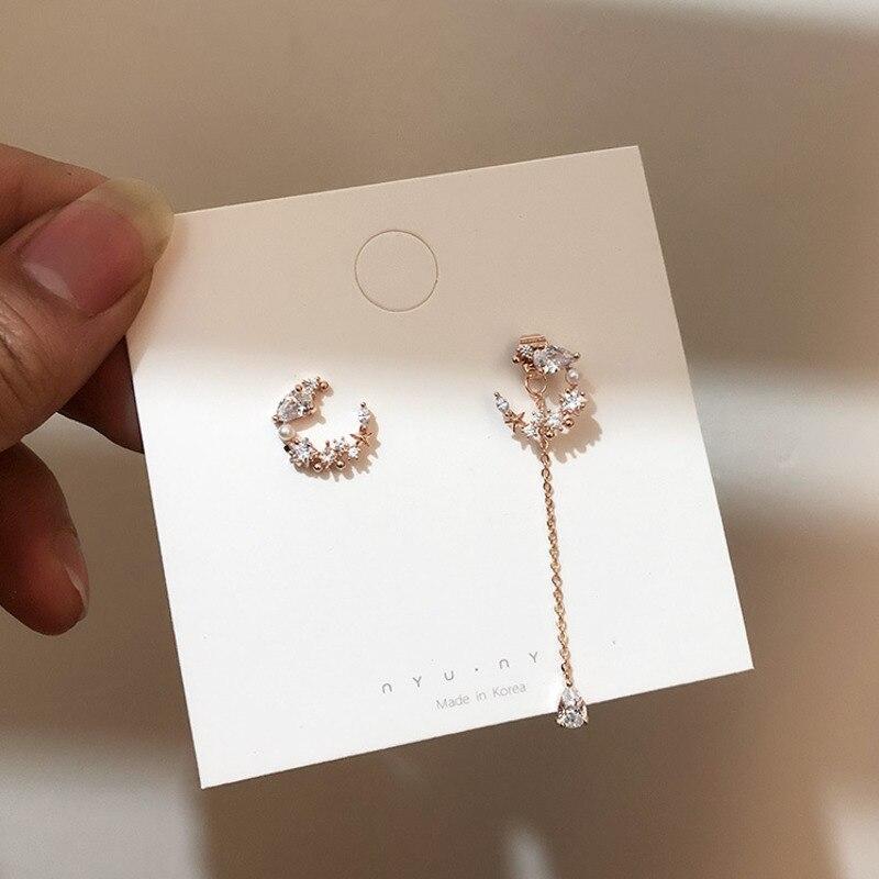 2020 New Korean Elegant Creative Arrow Moon Asymmetric Earrings For Women Romantic Sweet Jewelry Crystal Pearl Party Pendant