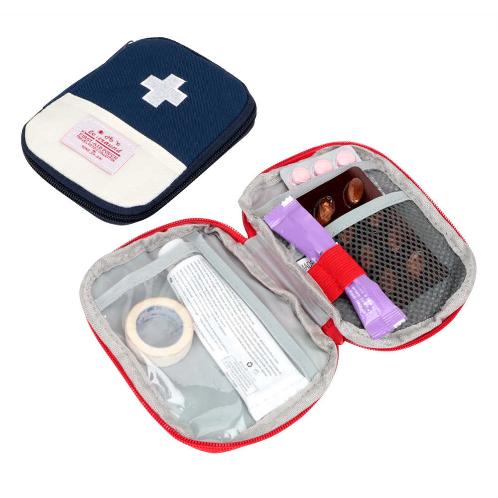 Mini Car First Aid Kit Pouch Portable Outdoor Travel Medical Bag Home Rescue Emergency Survival Kit Home Medicine Storage Bag