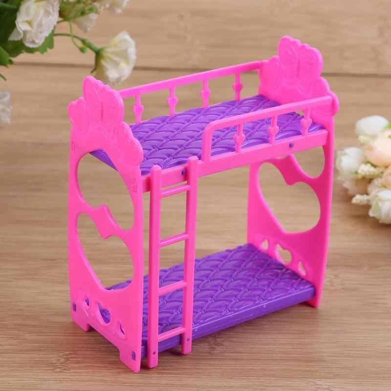 7 stücke Nette Puppen Haus Möbel Kunststoff Etagen Bett Spielen Haus Spielzeug Mädchen Geschenk Mini Puppe haus bett tat spielzeug für kinder