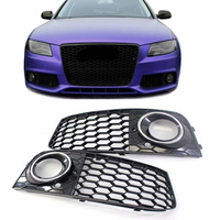 1Pair Car A4 Fog Light Cover Grille Grill Honeycomb Mesh Fog Light Lamp Open Vent Grille For Audi A4 B8 RS4 Style 2009 2012