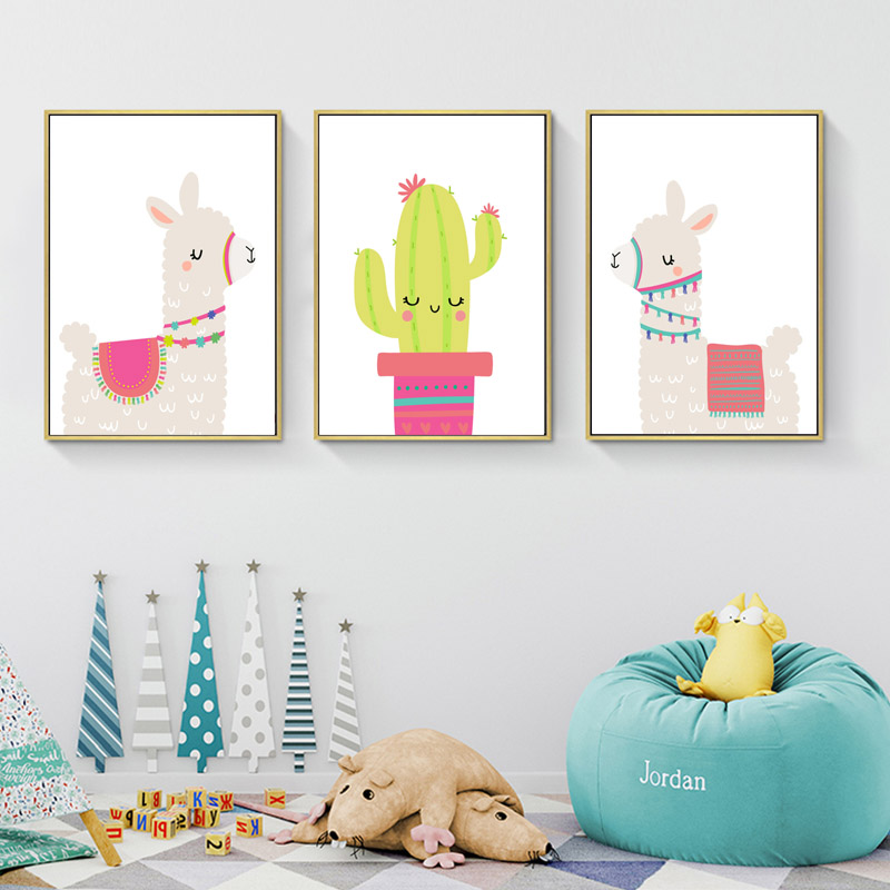 Llama Alpaca Print Nursery Wall Art Canvas Painting Cactus Nordic Posters And Prints Cartoon Wall Pictures For Kids Room Decor