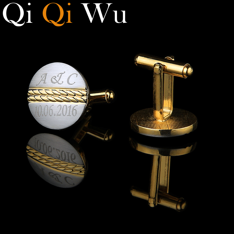 Qi Qi Wu Gold Personalized Cuff links for Men Customized Jewelry Gifts Golden Wedding Cufflinks Engraved Name Record Initials