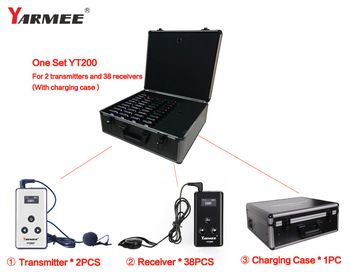 Yarmee vhf private factory floor visiting wireless tour guide system YT200 for 2 transmitter and 38 receivers